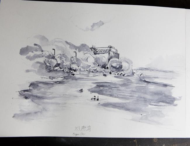 Carnet de voyage au japon, usine et bord de mer